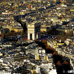 VUE 2 DE LA TOUR EIFFEL SUR L'ARC DE TRIOMPHE DE PARIS 1B : ESPRIT LIBRE PHOTO DU MONDE
