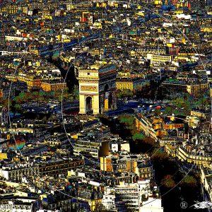 VUE 2 DE LA TOUR EIFFEL SUR L'ARC DE TRIOMPHE DE PARIS 1C : ESPRIT LIBRE PHOTO DU MONDE